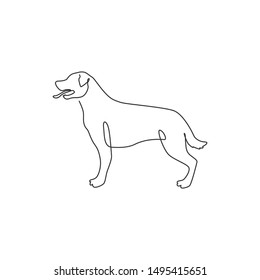 One continuous line drawing of fierce rottweiler dog for security company logo identity. Purebred dog mascot concept for pedigree friendly pet icon. Modern single line draw design vector illustration