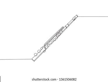 One continuous line drawing of flute. Wind music instruments concept single line draw design illustration