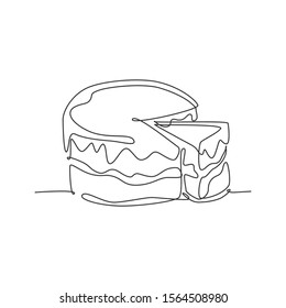One continuous line drawing of fresh delicious birthday with sliced cut cake tart art. Sweet decorative pastry concept. Modern single line draw design vector illustration graphic