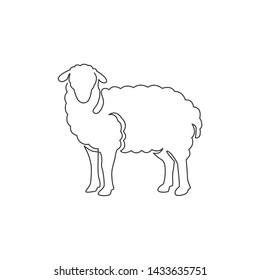 One continuous line drawing of funny cute sheep for livestock logo identity. Lamb emblem mascot concept for cattle icon. Trendy single line draw design vector graphic illustration