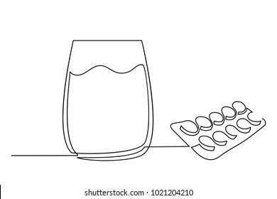 One continuous line drawing. Glass with water and pills. Logo, flyer, banner. Drawing a thin black line on a white background.