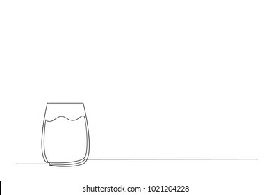 One continuous line drawing. A glass with water. Contemplation drawing a thin black line on a white background.