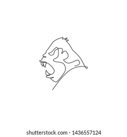 One continuous line drawing of gorilla head for national park logo identity. Primate animal portrait mascot concept for conservation forest icon. Single line draw design vector illustration