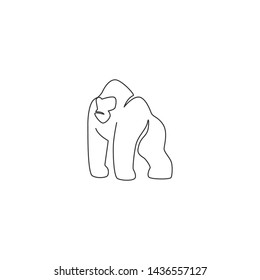 One continuous line drawing of gorilla for national park logo identity. Ape primate animal portrait mascot concept for conservation forest icon. Single line draw design vector illustration