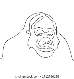 One continuous line drawing of gorilla for national park logo identity. A big monkey primate animal minimalist style on white background. Wild animal mascot concept for conservation forest icon.