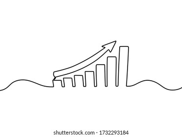One continuous line drawing of graph icon, growing chart vector illustration. Good for banner, web, design element, template, postcard. Financial business theme isolated on white background.