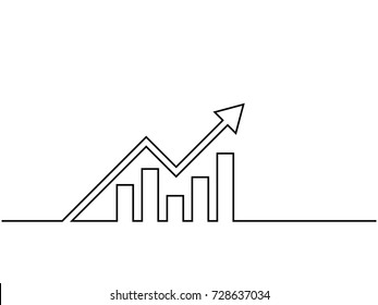 One continuous line drawing of graph icon isolated on white background. EPS10 vector illustration for banner, web, design element, template, postcard. Growing graph, chart image with arrow up.