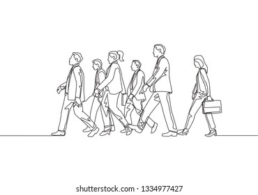 One continuous line drawing of group urban commuters walking pass over and over again on city road. Urban commuters concept single line draw design illustration