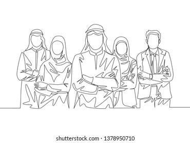One continuous line drawing group of young muslim and multi ehtnic businessman businesswoman line up together. Islamic clothing shemag, kandura, scarf, keffiyeh. Single line draw design illustration