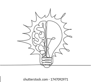 One continuous line drawing of half human brain and half light bulb logo emblem. Genius psychological logotype icon template concept. Modern single line draw graphic design vector illustration