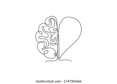 One continuous line drawing of half human brain and love heart shape logo icon. Psychological split affection logotype symbol template concept. Trendy single line draw design vector illustration