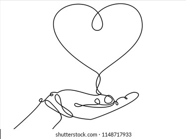 One continuous line drawing of hand holding heart.