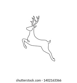 One continuous line drawing of jumping wild reindeer for national park logo identity. Elegant buck mammal animal mascot concept for nature conservation. Single line vector draw design illustration