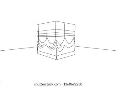 One continuous line drawing of Kaabah building at Mekkah city, Saudi Arabia. Islamic holy day Ramadan Kareem and Eid Al Adha greeting card concept single line draw design illustration
