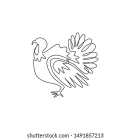 One continuous line drawing of large turkey for livestock logo identity. Giant avian mascot concept for animal husbandry icon. Modern single line draw design graphic vector illustration