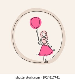 One continuous line drawing of little girls wearing pink dress and playing pink balloons. Cute child girl is holding a waving balloon in the wind isolated on white background. Childhood concept.