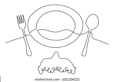 One continuous line drawing. A man at a table in a cafe, before him a plate, a fork and a spoon. Close-up. Logo, flyer, banner. Drawing a thin black line on a white background.
