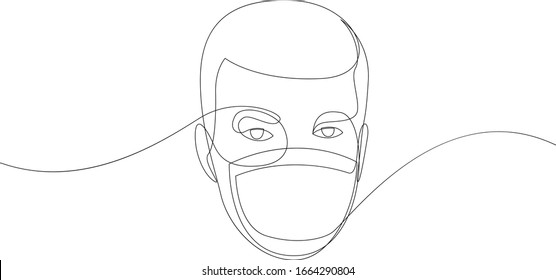 One continuous line drawing medical face mask. Concept of coronavirus. Continuous single drawn person in mask one line hand-drawn picture silhouette. Line art. doodle. Vector illustration