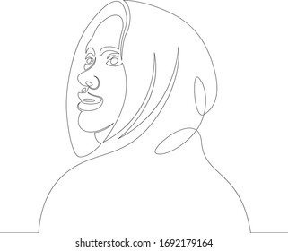 One continuous line drawing of a migrant African male Muslim man with a blanket on his head, a hood. One hand drawn line art doodle outline isolated minimal cartoon character drawing, flat