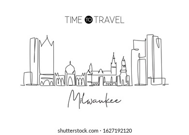 One continuous line drawing of Milwaukee city skyline, United States. Beautiful landmark. World landscape tourism and travel poster. Editable stylish stroke single line draw design vector illustration