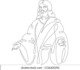 One continuous line drawing minimal hand Jesus Christ .Single hand drawn art line doodle outline isolated.