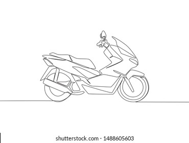 One continuous line drawing of modern luxury Asian underbone motorbike logo. Big automatic motorcycle concept. Single line draw design vector illustration