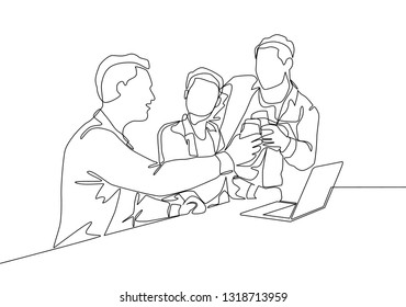 One continuous line drawing of multi level marketing or MLM upliner doing presentation with laptop to prospect downliner candidate. MLM business concept single line draw design illustration