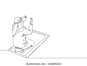 One continuous line drawing of muslim person raise and open hands praying on sajadah, from rear view. Islamic Ramadan Kareem and Eid Mubarak greeting card concept single line draw design illustration