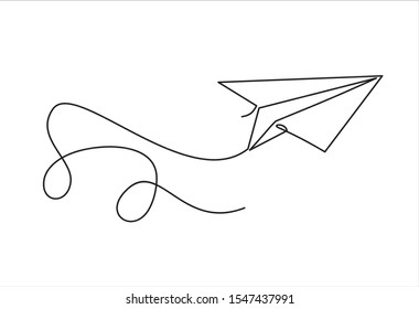 One continuous line drawing of origami paper plane flying. Flat design. White background. Single line draw design vector illustration