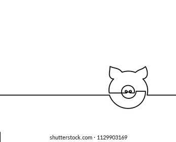 One continuous line drawing - pig. Vector chinese new year illustration isolated on white background.
