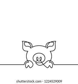 One continuous line drawing of pig, Black and white vector minimalistic illustration