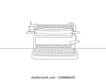 One continuous line drawing of retro old vintage typewriter front from view. Classic office item concept single line draw design illustration