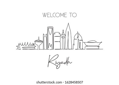 One continuous line drawing Riyadh city skyline, Saudi Arabia. Beautiful landmark postcard. World landscape tourism travel vacation. Editable stylish stroke single line draw design vector illustration