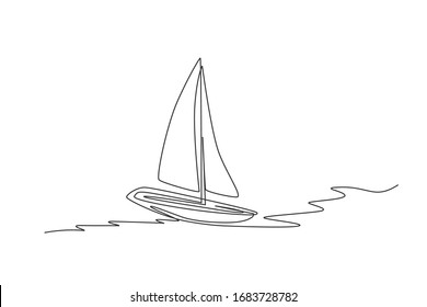 One continuous line drawing of sail boat sailing on the sea. Water transportation vehicle concept. Dynamic single line draw design graphic vector illustration