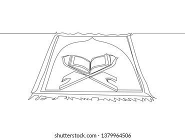 One continuous line drawing of sajadah, carpet that use to pray for muslim people and quran above. Worship of muslim person concept single line draw design illustration