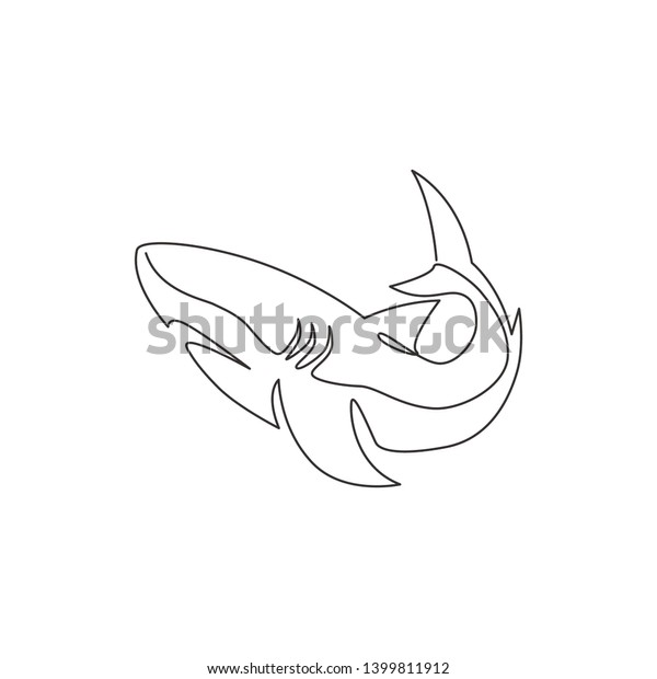 One Continuous Line Drawing Shark Sea Stock Vector (Royalty