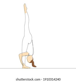 One continuous line drawing. Silhouette of a gymnastics athlete with painted skin stands on one leg. Vector illustration.