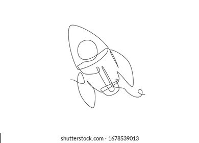 One continuous line drawing of simple retro spacecraft flying up to the outer space nebula. Rocket space ship launch into universe concept. Dynamic single line draw design vector illustration