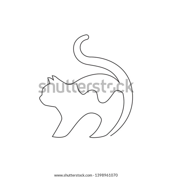 One Continuous Line Drawing Simple Cute Stock Vector Royalty Free 1398961070