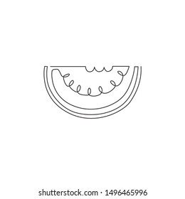 One continuous line drawing of sliced healthy organic watermelon for orchard logo identity. Fresh fruitage concept for fruit garden icon. Modern single line draw design vector illustration
