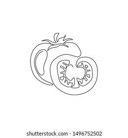 One continuous line drawing of sliced healthy organic tomatoes for farming logo identity. Fresh tropical vegetable concept for vegir garden icon. Modern single line draw design vector illustration