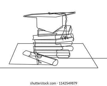 One continuous line drawing of stack of books with graduation hat and paper scroll above. Single line education concept vector illustration