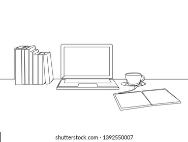 One continuous line drawing of stack of books line up with computer laptop, book and a cup of coffee. Study space desk concept. Single line draw design illustration