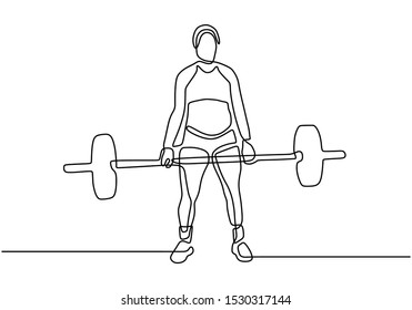 One continuous line drawing of strong woman body builder at gym. Girl workout with lifting barbells during a weightlifting session at gymnasium.