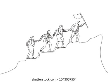 One continuous line drawing of team member stick together following their leader who holds the flag to reach the top of the hill. Teamwork concept single line draw design illustration
