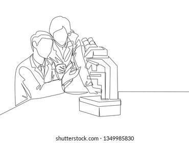 One continuous line drawing team of laboratorian analyzing blood sample from sick patient using laboratory microscope. Medical research concept single line draw design illustration