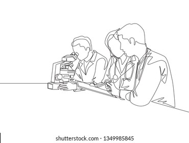 One continuous line drawing  team of laboratorian analyzing blood sample from infected patient using laboratory microscope. Medical research concept single line draw design illustration