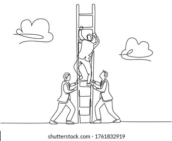 One continuous line drawing of team members support their leader to climb the ladder to reach the sky to reach the success. Trendy business teamwork concept single line draw design vector illustration