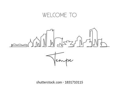 One continuous line drawing Tempe city skyline, Arizona. Beautiful landmark postcard. World landscape tourism travel home wall decor poster print. Stylish single line draw design vector illustration