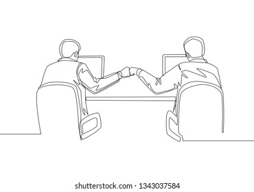 One continuous line drawing of two young happy business men bump their fist when they knew the project running smoothly. Teamwork concept single line draw design illustration